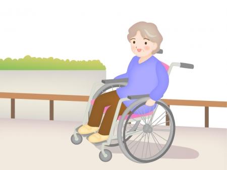 車椅子のおばあちゃんのイラスト