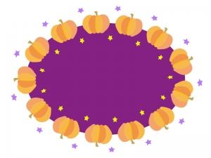 ハロウィン・かぼちゃと星のフレーム・枠素材