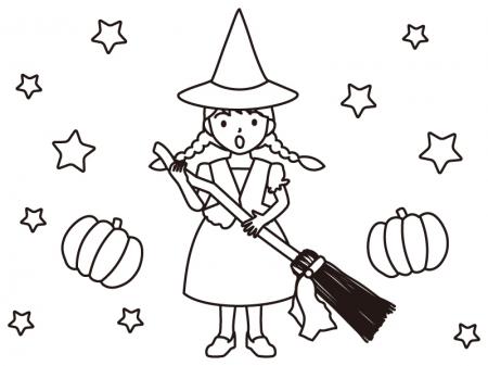 ハロウィン・魔女のぬりえ(線画)イラスト素材