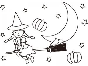 ハロウィン・ホウキに跨った魔女のぬりえ(線画)イラスト素材