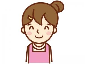 笑顔で喜ぶ主婦のイラスト
