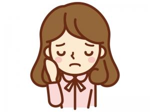悲しい表情の女性のイラスト