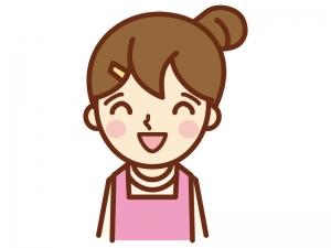 ニコッと笑顔の主婦のイラスト