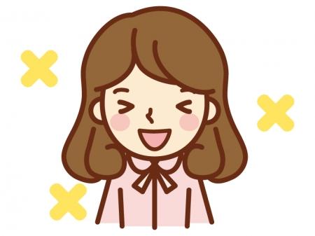 嬉しい表情の女性のイラスト