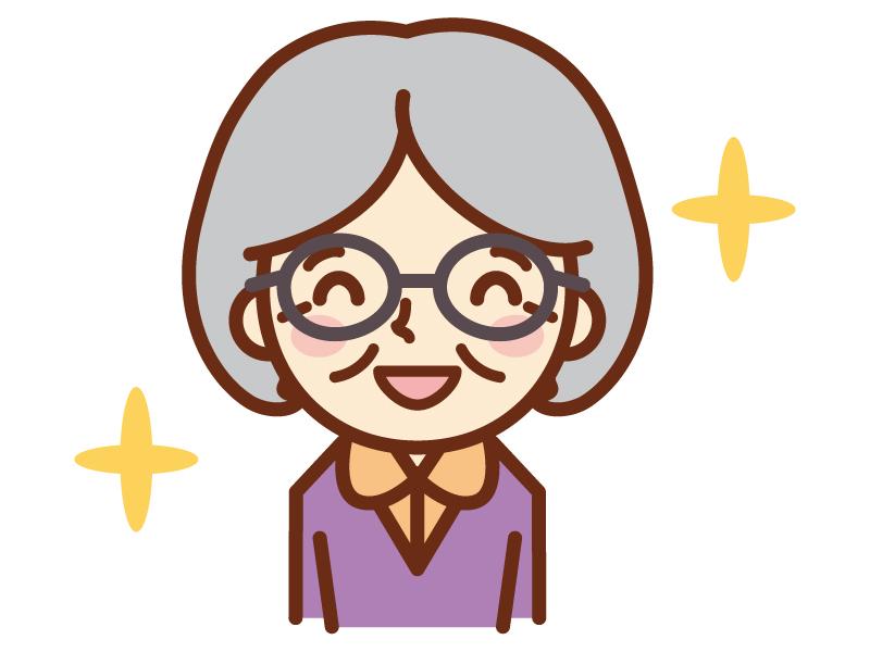 満面な笑顔のおばあちゃんのイラスト