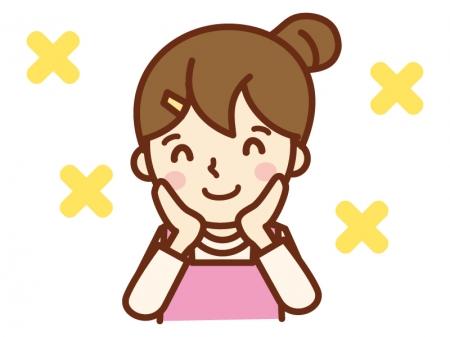 頬に手を当てニッコリ微笑む主婦のイラスト