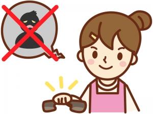 詐欺や迷惑、不信な電話をガチャリと切る主婦のイラスト