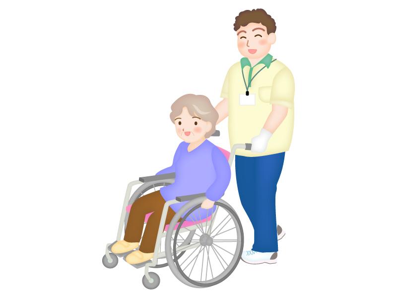 車椅子に乗ったお年寄りと介護士さんのイラスト