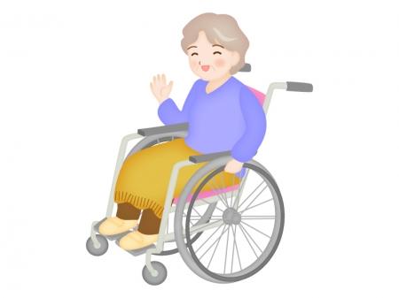 車椅子に乗り笑顔で片手をあげるお年寄りのイラスト
