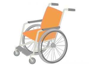 オレンジ色の車椅子のイラスト