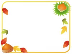 秋・栗と紅葉のフレーム・枠素材