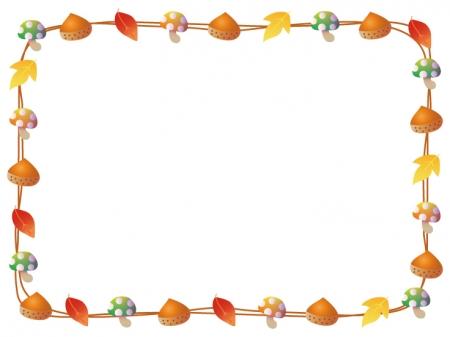 栗と紅葉とキノコの秋フレーム・枠素材
