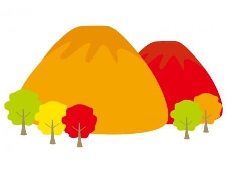 紅葉した山のイラスト