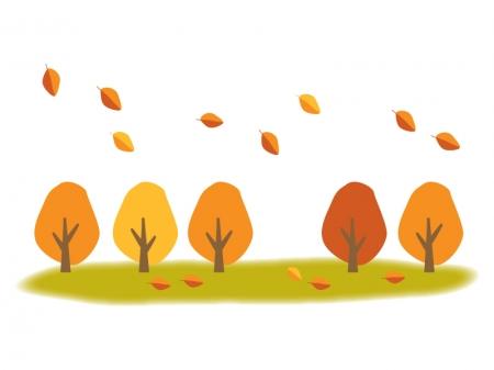 紅葉した樹木と落ち葉のイラスト