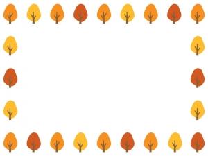 紅葉した樹木のフレーム・枠イラスト