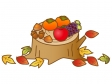 切り株と秋の味覚のイラスト