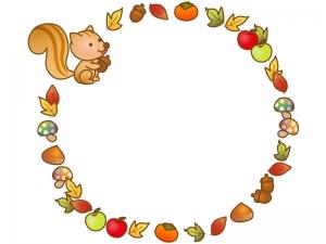リスと秋の味覚と紅葉のフレーム・枠イラスト