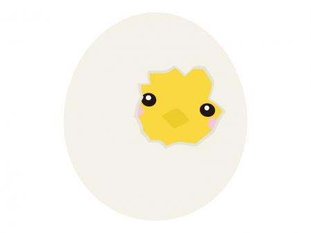 卵の殻に入ったヒヨコのイラスト