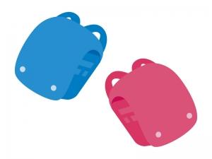 水色とピンク色のランドセルのイラスト