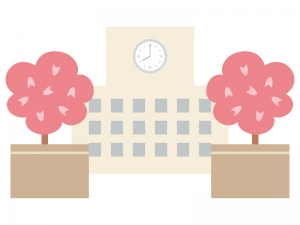 桜と学校のイラスト