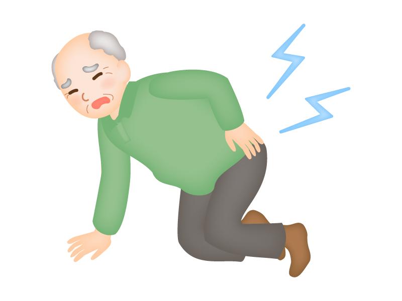 お年寄りの腰痛のイラスト