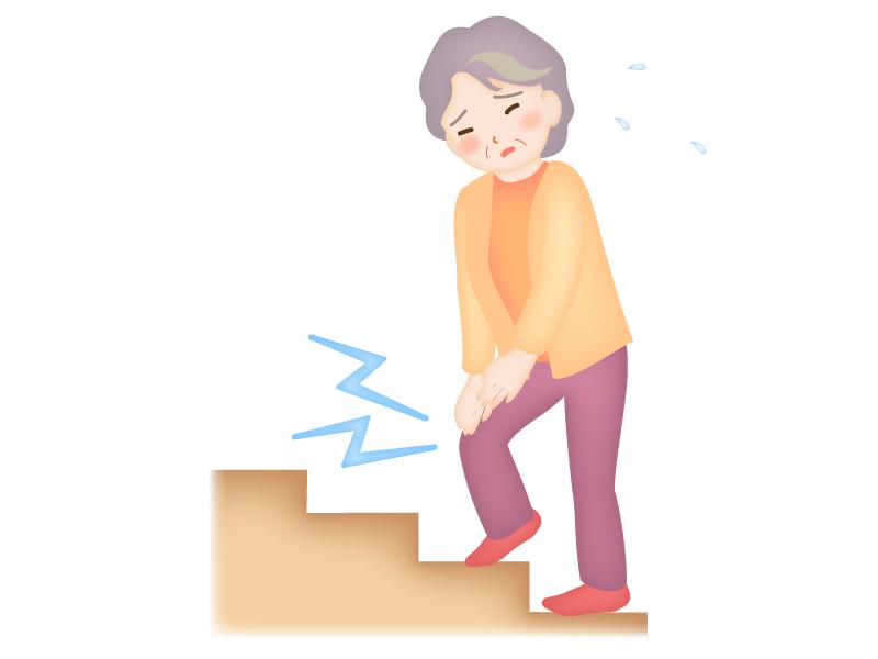 お年寄りの膝痛のイラスト
