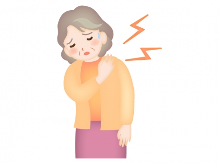 お年寄りの肩の痛みのイラスト