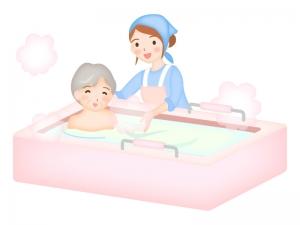 入浴介護している介護士のイラスト