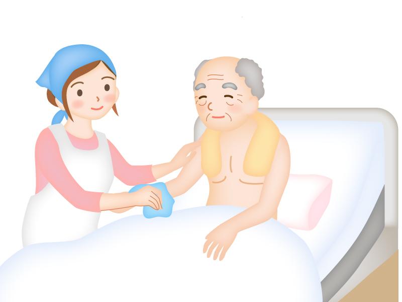 お年寄りを清拭する介護士のイラスト