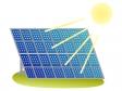 太陽と太陽光パネルのイラスト