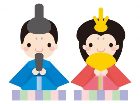 ひな祭り・かわいいお雛さま・お内裏様のイラスト