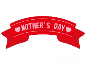 母の日の赤いリボンのイラスト
