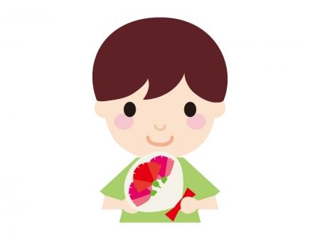 母の日・お母さんにカーネーションを渡す子供のイラスト