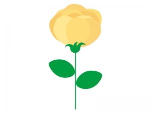 黄色い一輪のバラのイラスト