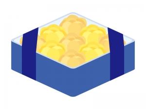 父の日・黄色いバラのプレゼント箱のイラスト