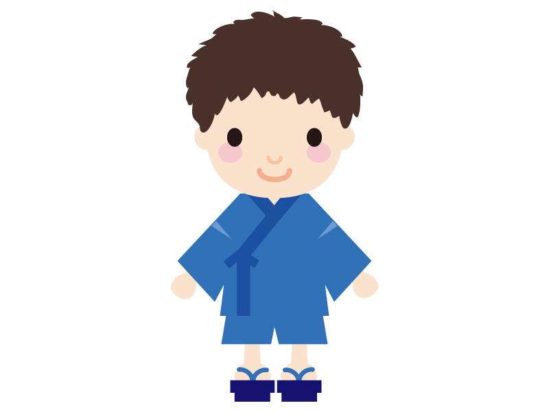 夏祭り・甚兵衛(じんべえ)を着た子供のイラスト