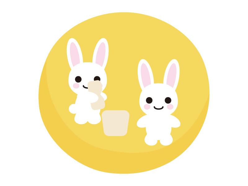月で餅つきをしているウサギのイラスト