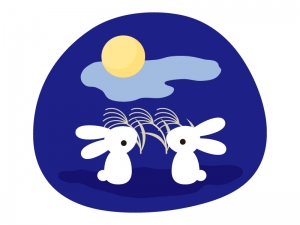 満月をお月見しているウサギのイラスト