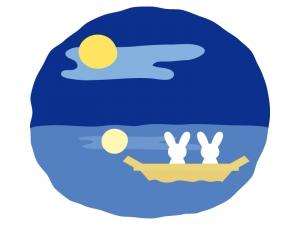 船に乗ってお月見するウサギのイラスト