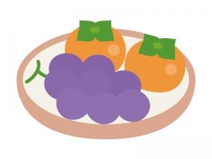 秋の味覚・柿と巨峰のイラスト
