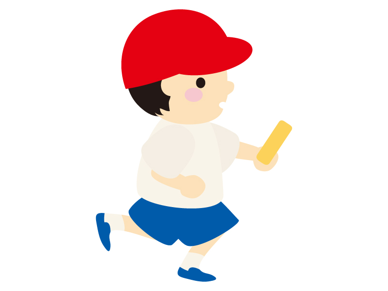 リレーでバトンを持ち走る男の子のイラスト02