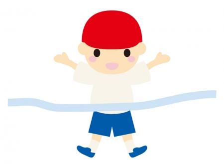 運動会でゴールする男の子のイラスト