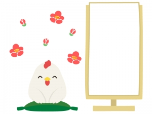 梅の花と落語をするにわとりのフレーム・枠イラスト