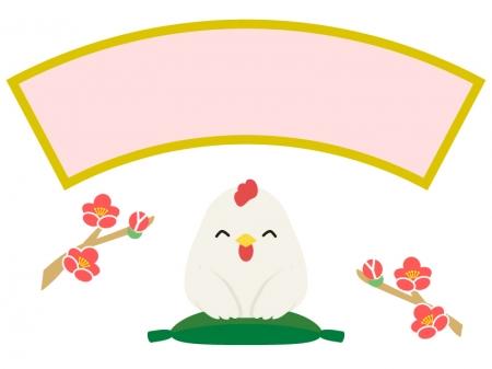 梅の花と座布団に座るにわとりのフレーム・枠イラスト