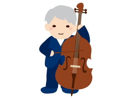 音楽・コントラバスの演奏のイラスト