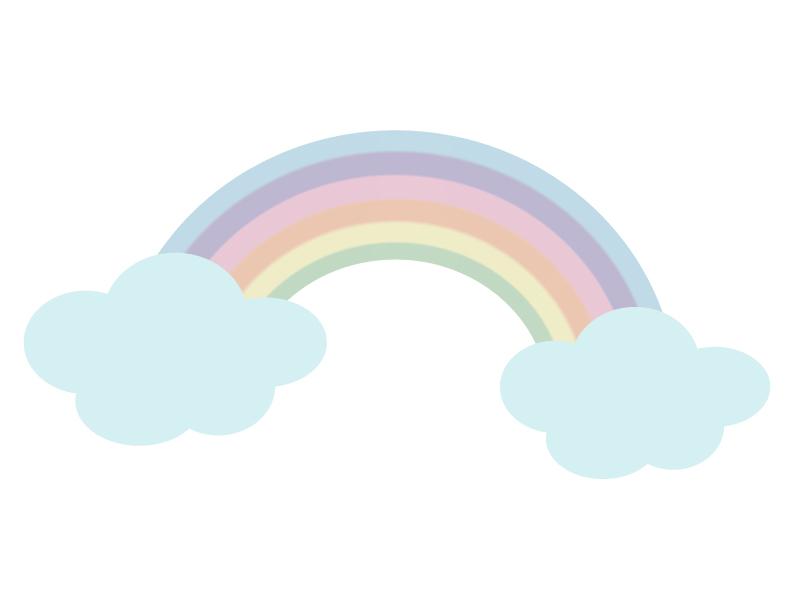 パステルカラーの虹と雲のイラスト