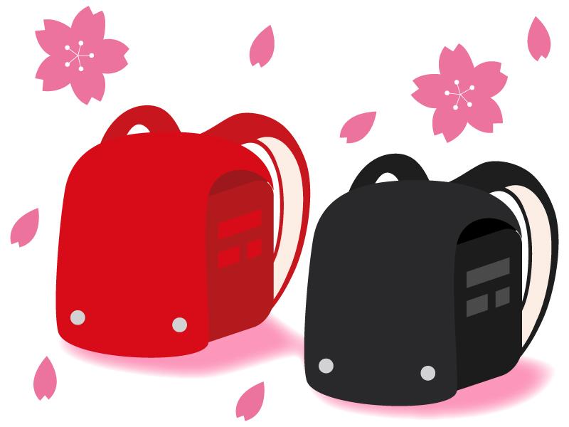 桜と赤と黒のランドセルのイラスト