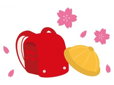 赤いランドセルと黄色い帽子のイラスト