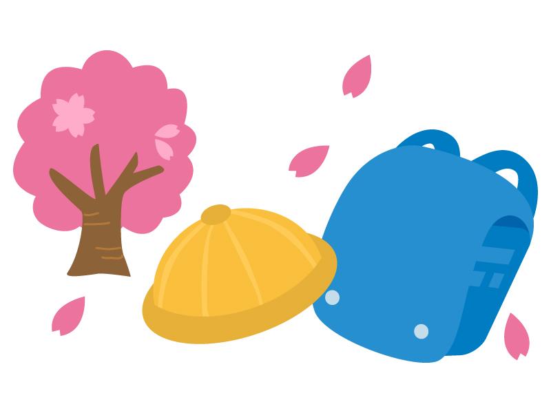 桜の木と水色のランドセルのイラスト