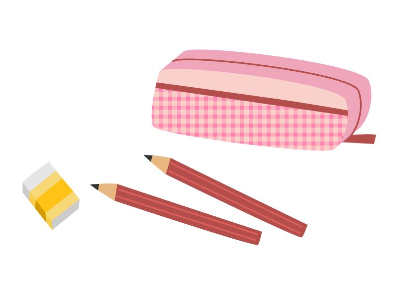 消しゴムと鉛筆と筆箱のイラスト